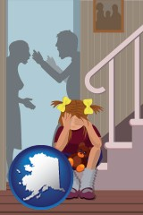 alaska map icon and a heartsick little girl listens to her parents arguing
