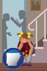 arkansas map icon and a heartsick little girl listens to her parents arguing