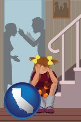 california map icon and a heartsick little girl listens to her parents arguing