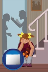 colorado map icon and a heartsick little girl listens to her parents arguing