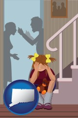connecticut map icon and a heartsick little girl listens to her parents arguing