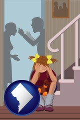 washington-dc map icon and a heartsick little girl listens to her parents arguing