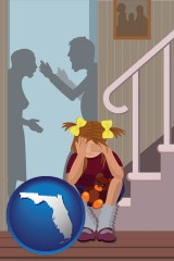 florida map icon and a heartsick little girl listens to her parents arguing