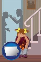 iowa map icon and a heartsick little girl listens to her parents arguing