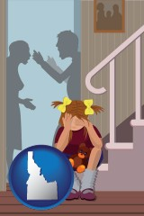 idaho map icon and a heartsick little girl listens to her parents arguing