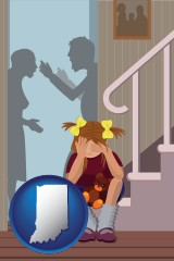 indiana map icon and a heartsick little girl listens to her parents arguing