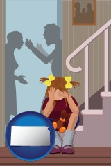 kansas map icon and a heartsick little girl listens to her parents arguing
