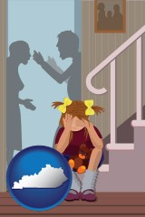 kentucky map icon and a heartsick little girl listens to her parents arguing