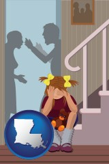 louisiana map icon and a heartsick little girl listens to her parents arguing