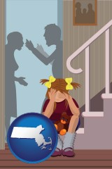 massachusetts map icon and a heartsick little girl listens to her parents arguing