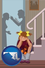 maryland map icon and a heartsick little girl listens to her parents arguing