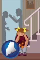 maine map icon and a heartsick little girl listens to her parents arguing