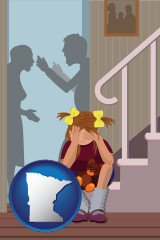 minnesota map icon and a heartsick little girl listens to her parents arguing