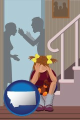 montana map icon and a heartsick little girl listens to her parents arguing