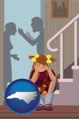 north-carolina map icon and a heartsick little girl listens to her parents arguing