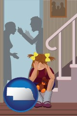 nebraska map icon and a heartsick little girl listens to her parents arguing