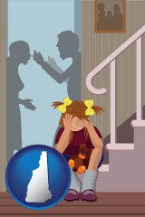 new-hampshire map icon and a heartsick little girl listens to her parents arguing