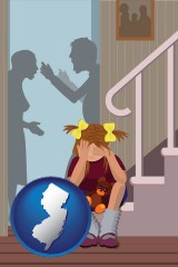 new-jersey map icon and a heartsick little girl listens to her parents arguing