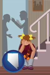 nevada map icon and a heartsick little girl listens to her parents arguing