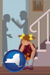 new-york map icon and a heartsick little girl listens to her parents arguing