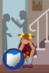 ohio map icon and a heartsick little girl listens to her parents arguing