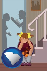 south-carolina map icon and a heartsick little girl listens to her parents arguing