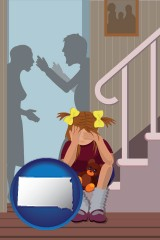 south-dakota map icon and a heartsick little girl listens to her parents arguing
