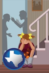 texas map icon and a heartsick little girl listens to her parents arguing