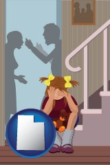 utah map icon and a heartsick little girl listens to her parents arguing