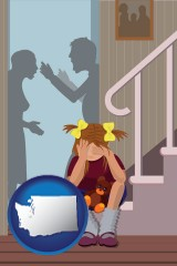 washington map icon and a heartsick little girl listens to her parents arguing