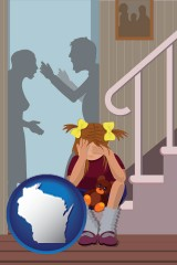 wisconsin map icon and a heartsick little girl listens to her parents arguing
