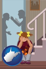 west-virginia map icon and a heartsick little girl listens to her parents arguing