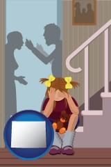 wyoming map icon and a heartsick little girl listens to her parents arguing